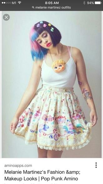 skirt melanie martinez skater skirt pastel printed skirt