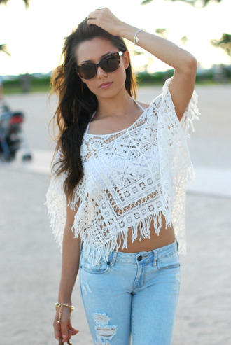 shorts sweater summer clothes cool white sunglasses jeans top lace t-shirt denim aztec transparent top transparent lace flowy top hippie fringes ripped jeans festival
