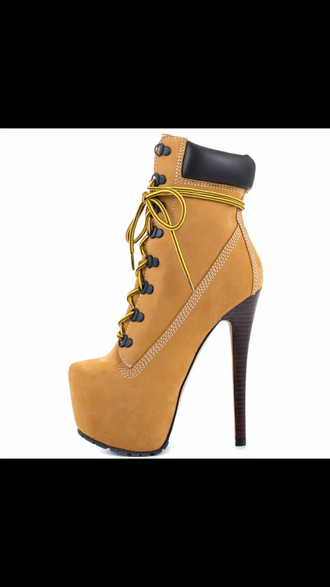 shoes high heels boots ankle boots timberland brown tan camel high heels boots womens heels timberland high heels
