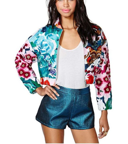 coat cardigan jacket pants shorts blue flowers floral floral jacket spring jacket embroidered jacket