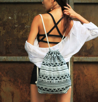 bag hippie tribal pattern geometric backpack drawstring ropes coachella fashion boho bag black bag mochila mochilla
