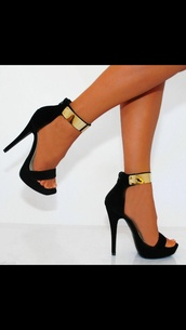 shoes,heel,gold bar,cuff,gold metal,black heel,high heel,gold