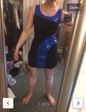 dress,blue,black,sequins,tight,bodycon,semi formal,homecoming,short