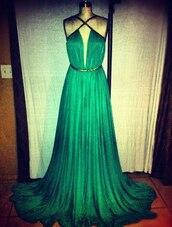 dress,straps,green,gold belt,green dress,evening dress,clothes,prom dress,pleated,criss cross