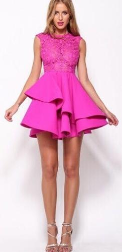 Bright Lights Big City Fuchsia Pink Sleeveless Lace Scoop Neck ... 9f4b4a24d
