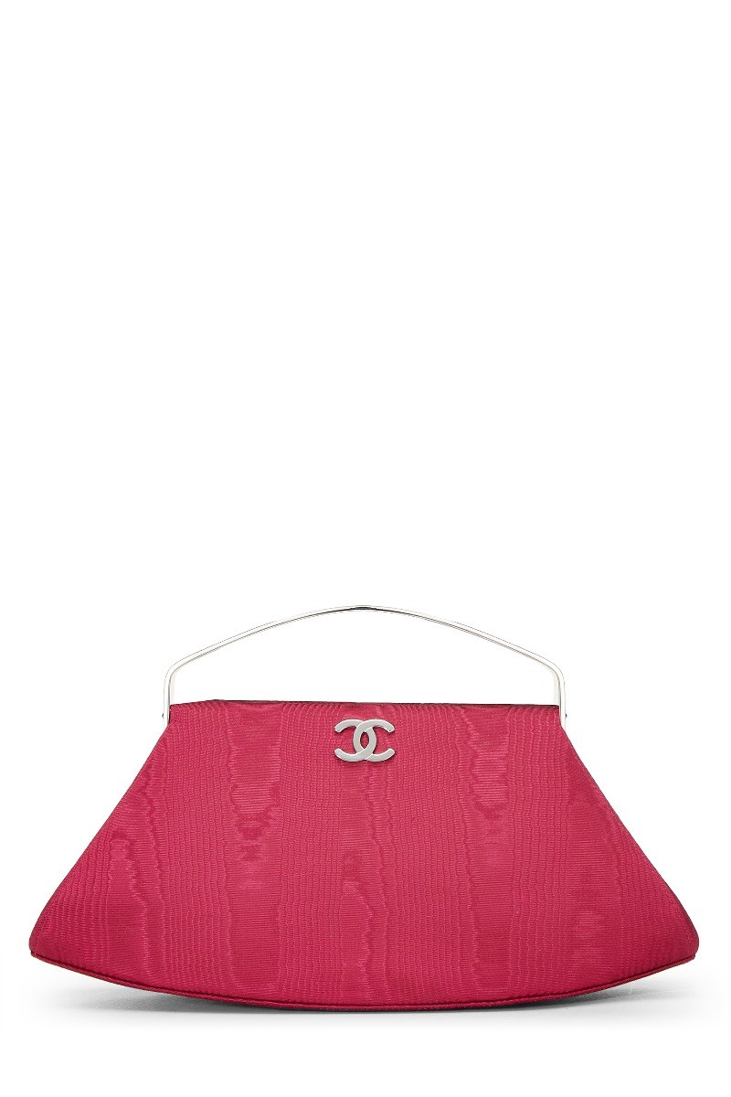 Chanel Fuchsia Satin Frame Handbag In Pink