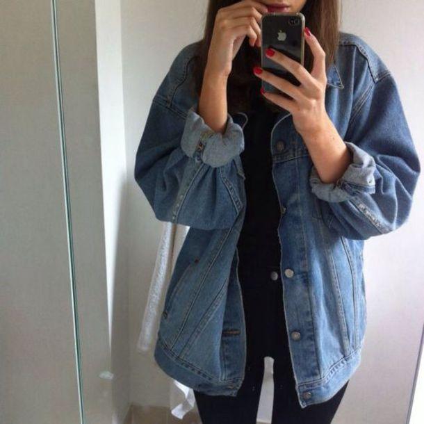 Jacket denim jacket denim oversized jacket oversized tumblr tumblr girl tumblr outfit ...