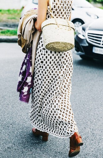 bag basket bag nude bag dress maxi dress printed dress black and white dress boots mid heel boots brown boots