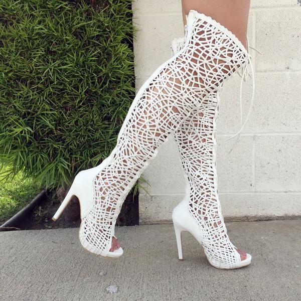 Womens Dress Heeled Boots WHITE