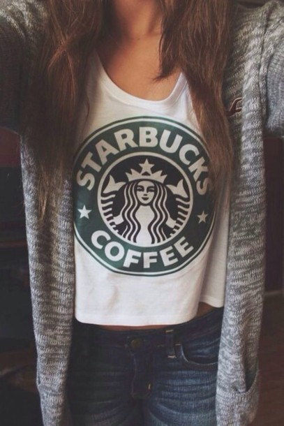 shirt t-shirt starbucks coffee t-shirt jacket starbucks coffee cardigan starbucks coffee grey white american eagle tank top tumblr summer cool white top