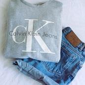 sweater,calvin klein,grey sweater,grey,calvin klein top,cotton,pullover