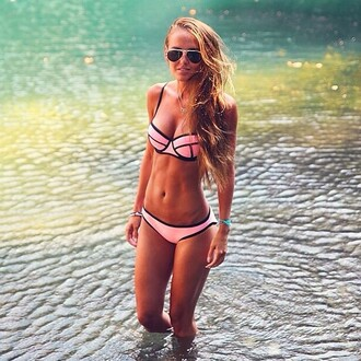 swimwear bikini pink triangle bikini triangl bandeau neon pily q elite fashion swimwear