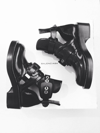 shoes black booties balenciaga leather booties boots