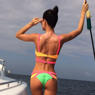 swimwear neon cute bathing suit bikini yellow bikini green bikini vlue bikini pink bikini cut-out swimsuit sexy beach wear