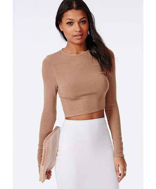 5d31850b7a8 top, sweater, brown, knitwear, long sleeves, crop tops, shirt, long ...