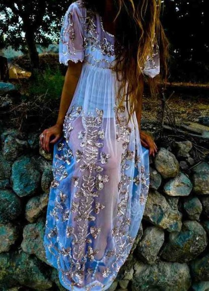 dress boho bohemian hippie boho gypsy blue dress gold sequins
