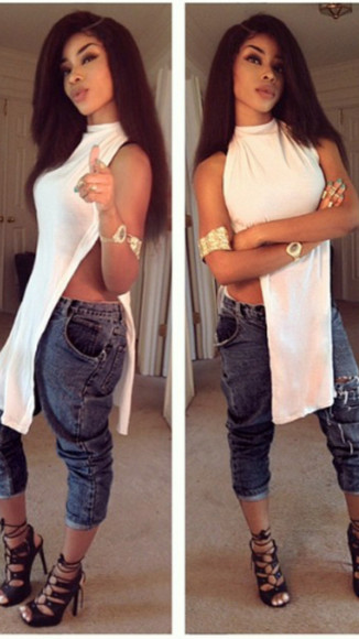 asymmetrical blouse vintage pinterest weheartit high heels denim jeans shoes