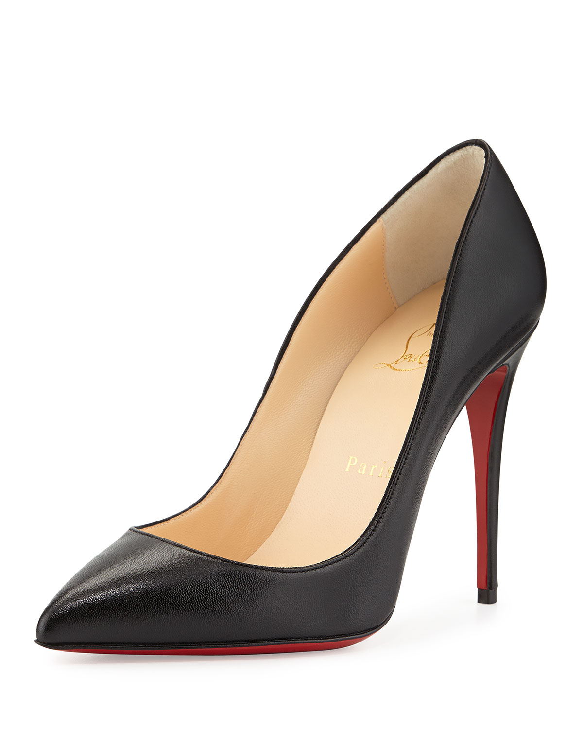 Christian Louboutin Pigalle Follies Point-Toe Red Sole Pump, Black