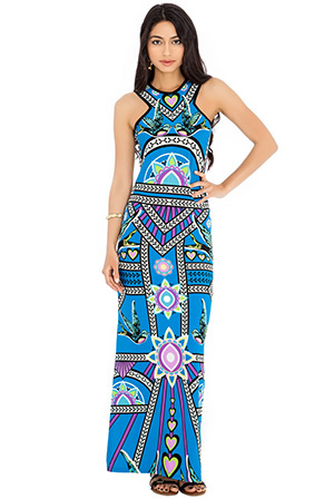 Side Split Eastern Influence Printed Maxi Dress