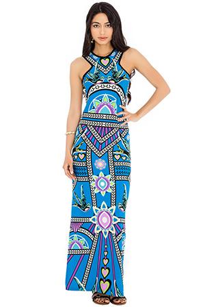 Side Split Eastern Influence Printed Maxi Dress