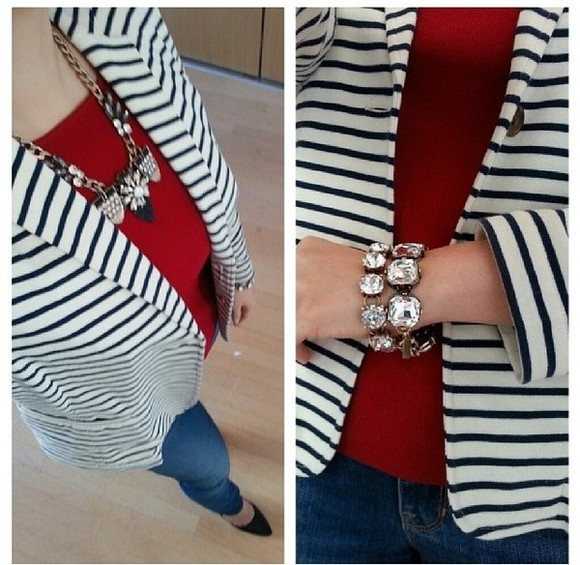 jacket blazer white blazer classy cute blue blazer black and white striped blazer spring fashion