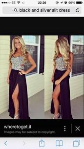dress,clothes,slit skirt,slit,black,long,beautiful,bedazzled,black prom dress,long dress,cute dress,cardigan