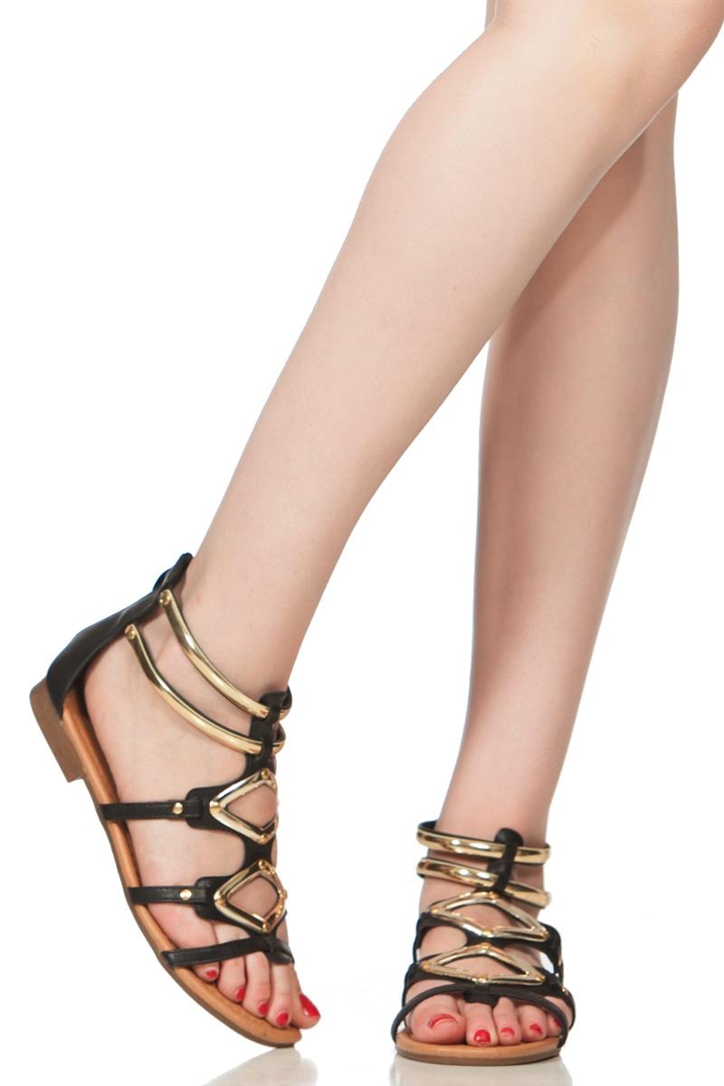 2d9474afa Black Faux Leather Gold Accent Sandals @ Cicihot Sandals Shoes online store  sale:Sandals,Thong Sandals,Women's ...