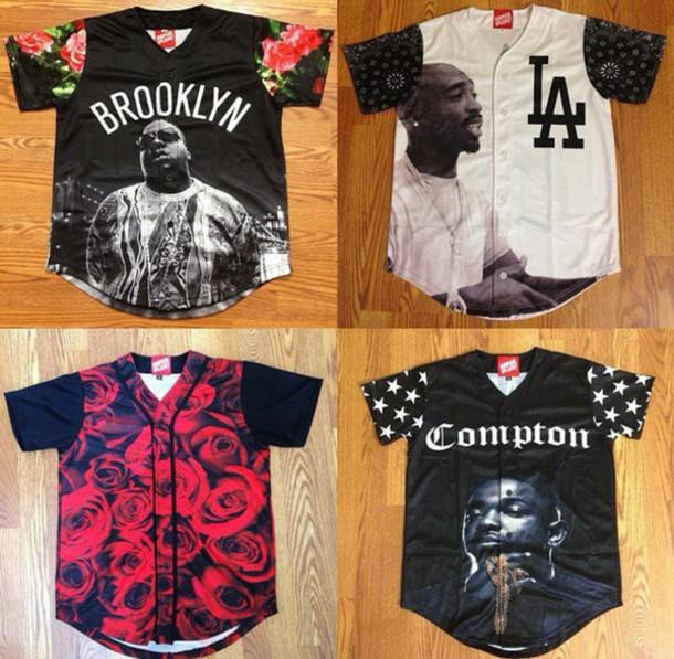 dope tupac roses swag mens t-shirt shirt jacket baseball jersey