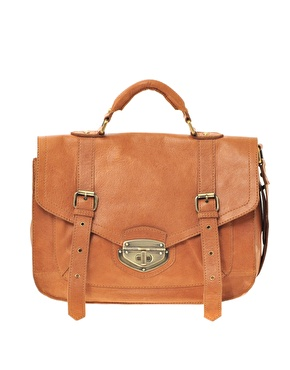 Asos leather twist lock vintage style satchel at asos