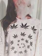 sweater,white,weed,cool,weed shirt,shirt,white sweater,grass,dope,marijuana,blouse,weed sweater,smoke,teenagers,girl,black and wjite,black and white,huf,high