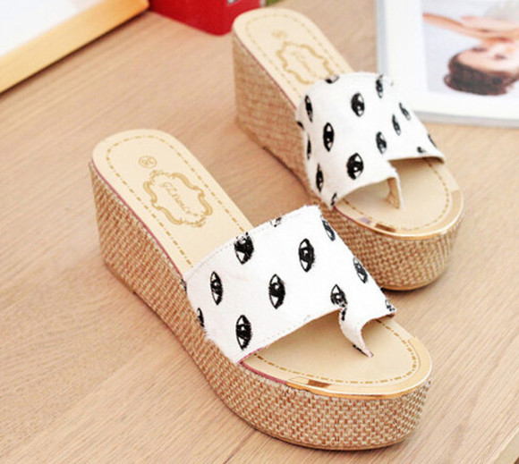 chic style casual shoes eye pattern eye print wedges sandals wedge sandals eye shoes