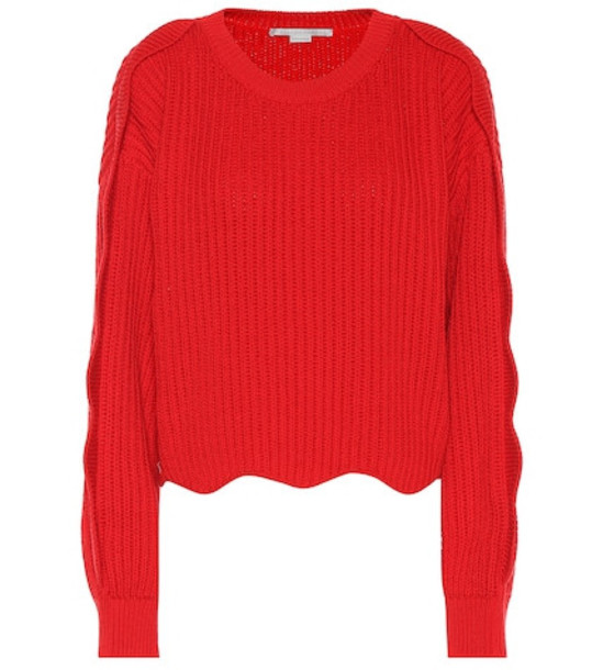 Stella McCartney Cotton and wool sweater in red