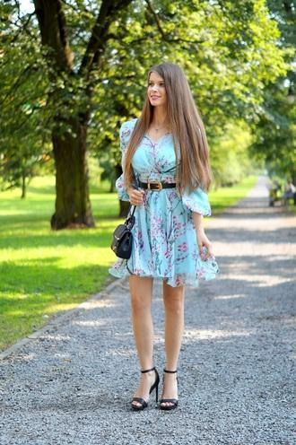 only my fashion style blogger dress bag sandals high heel sandals blue dress summer outfits summer dress