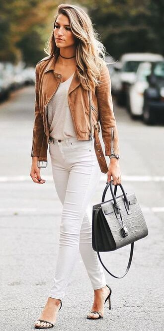 jacket white top brown suede jacket white jeans black bag black strap heels blogger