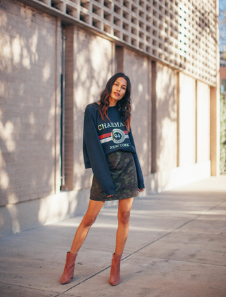 top tumblr sweatshirt blue sweater skirt mini skirt camouflage boots ankle boots pink boots