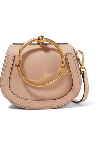 bag shoulder bag leather suede beige