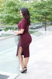gumboot glam,blogger,oxblood,burgundy dress,curvy,bodycon dress,slit dress,plus size dress,plus size