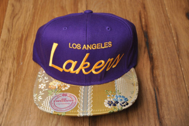 la los angeles lakers hat floral flowers lids brim snapback purple