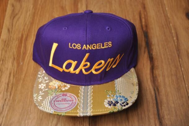 la los angeles lakers hat floral flower lids brim snapback purple