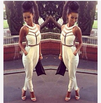 jumpsuit tight mesh mesh crop tops pants suit see through mesh white black