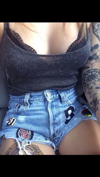 High waisted shorts denim patched underwear bra