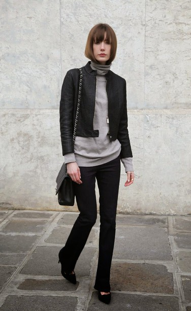 into your closet blogger black jacket turtleneck grey turtleneck top grey top jacket black leather jacket leather jacket black pants work outfits