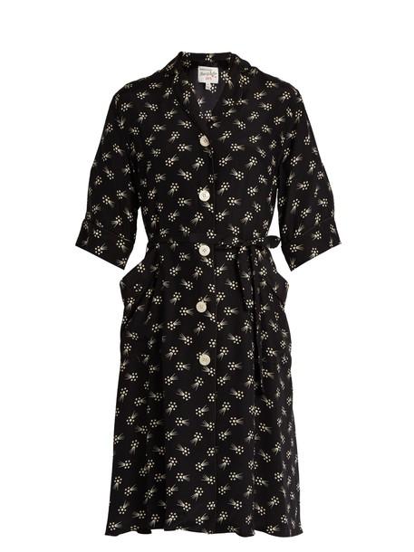 kimono print silk black top