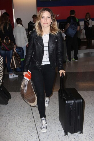 top jacket biker jacket pants sneakers sophia bush