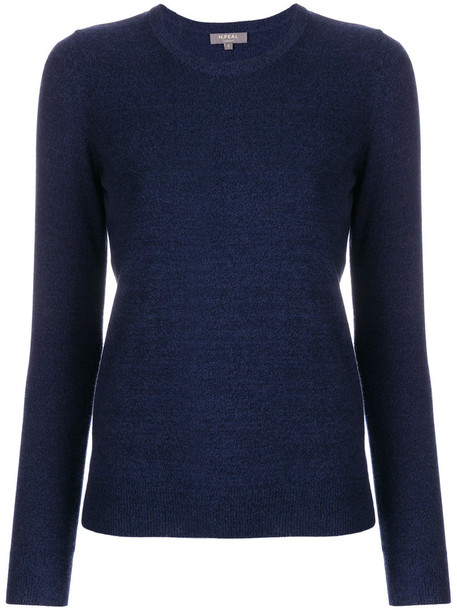 N.Peal - round neck sweater - women - Cashmere - L, Blue, Cashmere