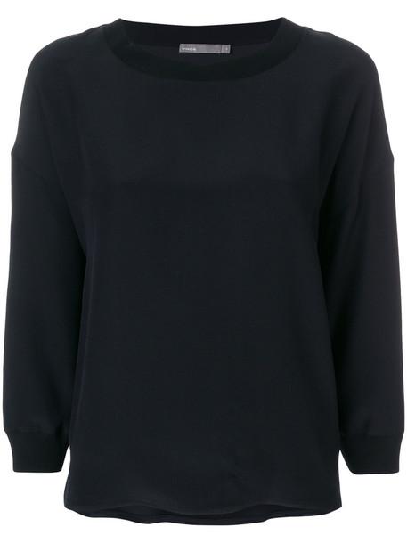 sweatshirt loose women fit black silk sweater