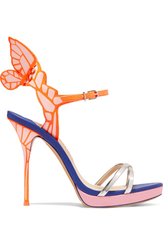 metallic sandals platform sandals leather blue pink shoes