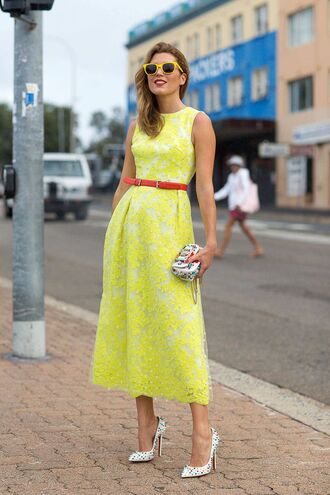 dress embelished bag yellow summer dress yellow dress summer outfits summer dress midi dress belt red belt bag white bag pointed toe pumps pumps white pumps sunglasses yellow sunglasses embellished bag