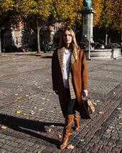 coat,brown coat,wool coat,boots,skinny jeans,checkered,white t-shirt,handbag,necklace