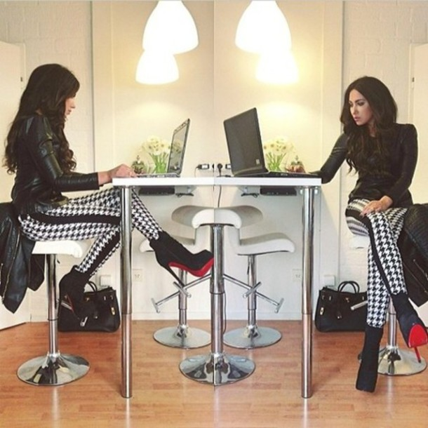 pants houndstooth houndstooth leather skinny pants high waisted jeans leggings high waisted skinny jeans high waisted leggings dogtooth bodycon fashion